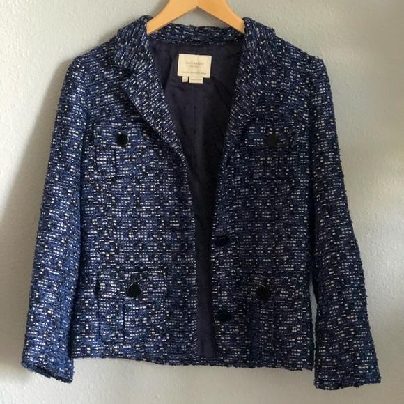 Kate Spade Blue Silver Metallic Black Boucle Tweed Mod Buttons Jacket Blazer 4